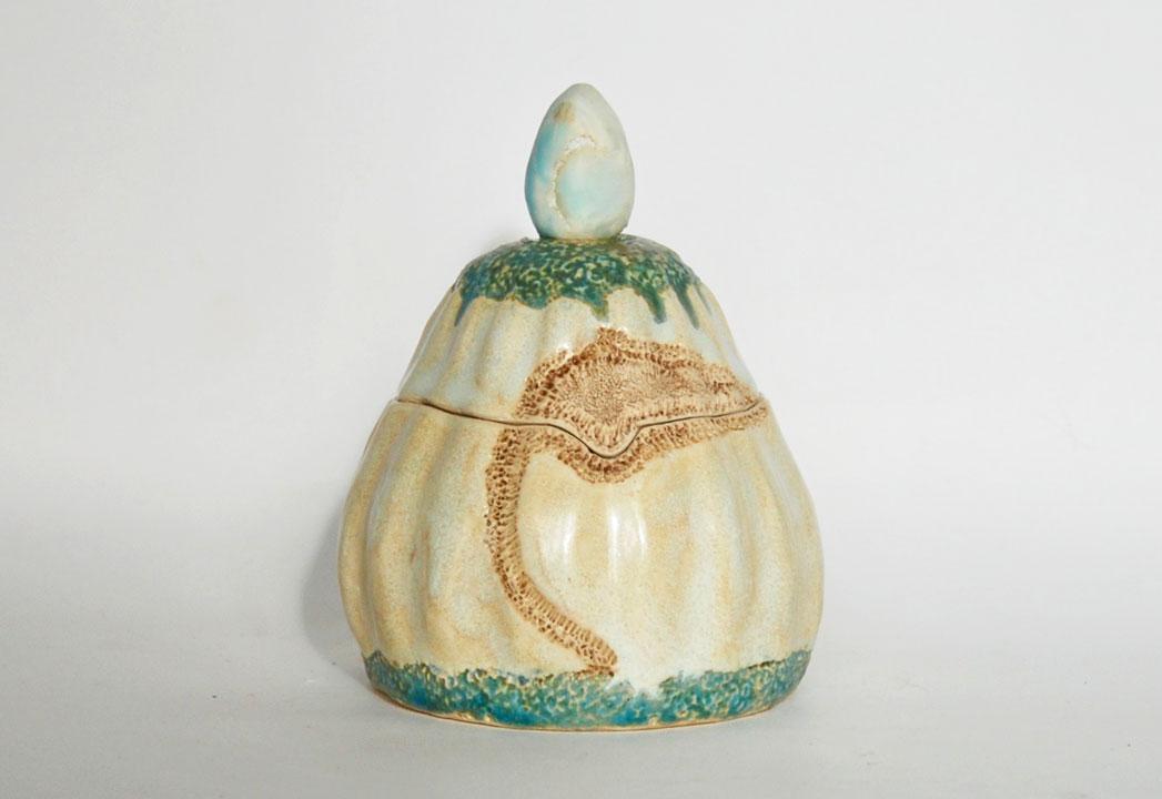 Céramique boîte sculptée écrin Larimar