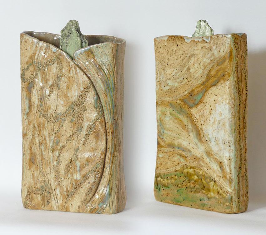 Céramique vase paysage - L'eau verte du Léthée