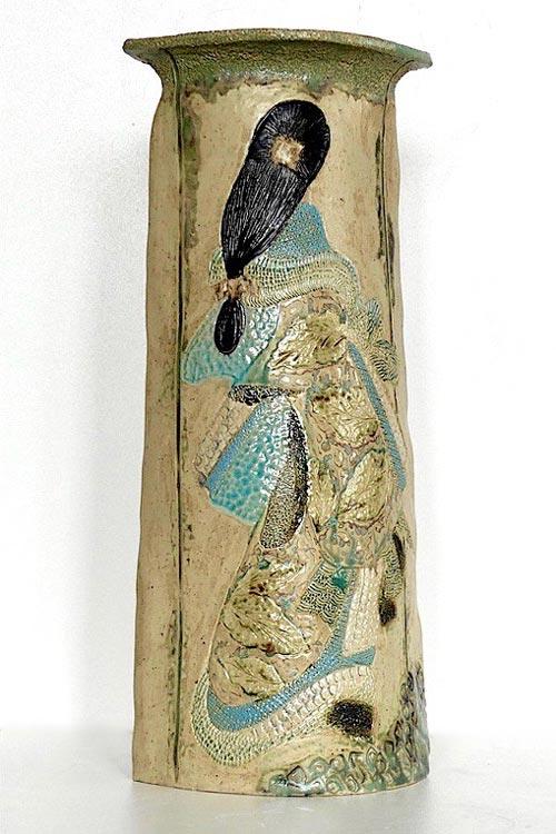 Céramiques vases paysage courtisane de dos