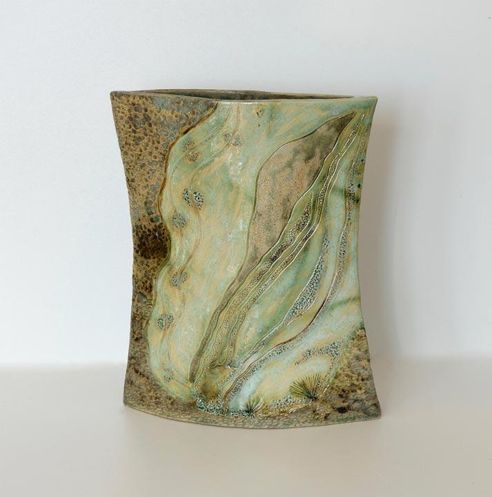 Céramique vases paysage flacon grès blanc