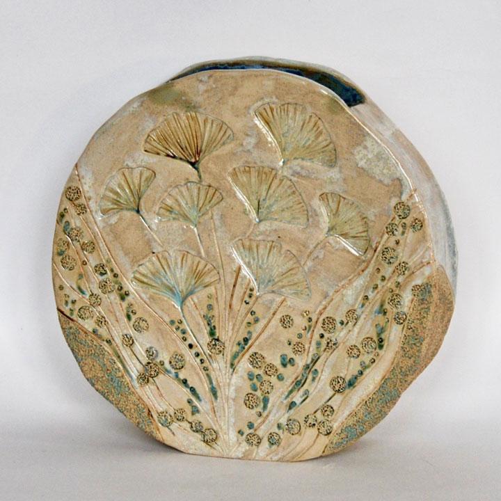 Céramique vases paysage tambour fleurs et eaux