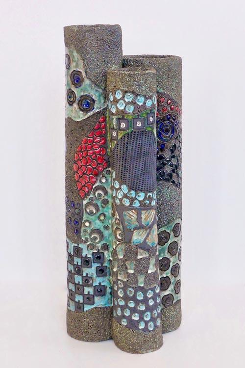 Céramique vase paysage triple K
