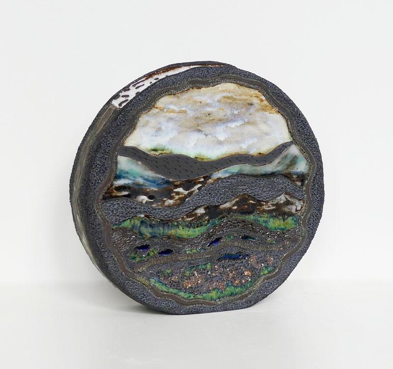 Vase tambour paysage