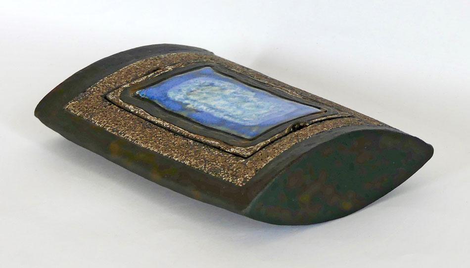 Boîte céramique plate bleu nuit