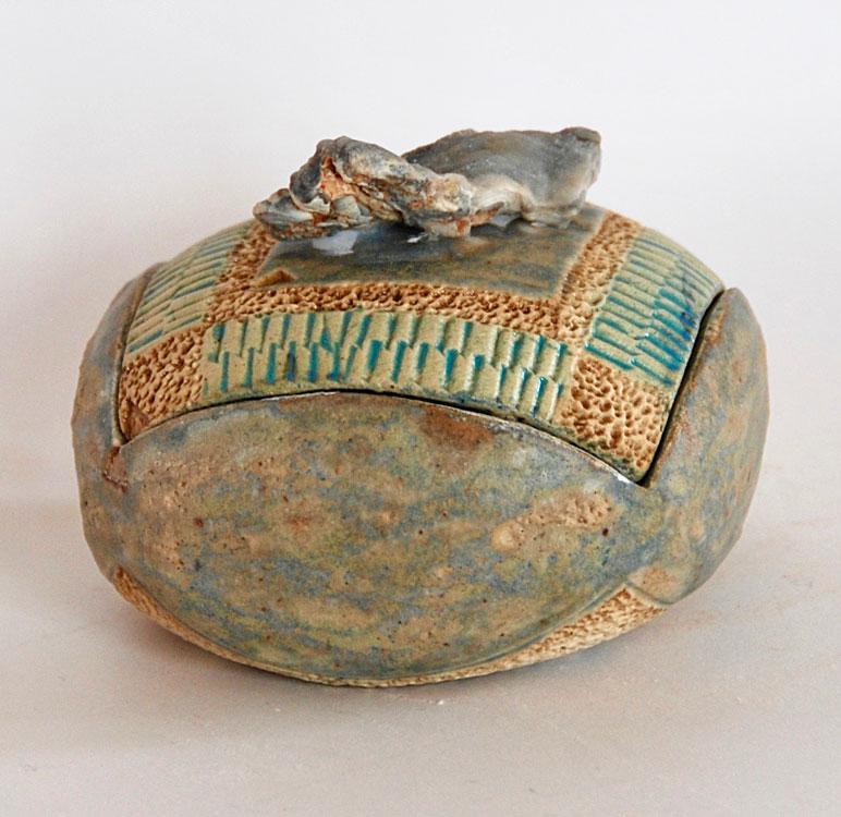 Boîte céramique ronde lussatite opale
