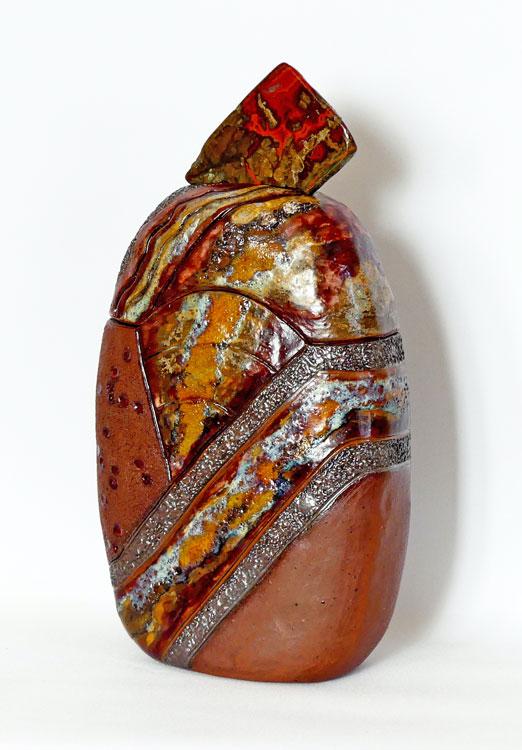 Boîte haute sculptée agate hématoïde