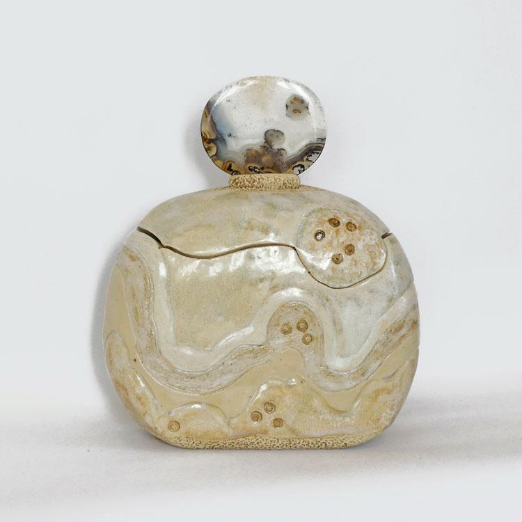 Boîte flacon sculptée tranche agate