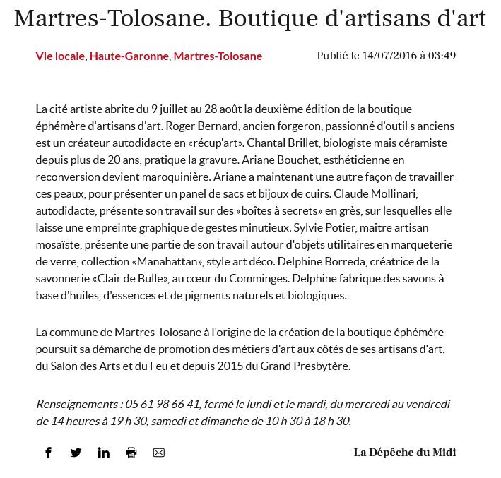 Exposition Martres-Tolosane Claude Agier Mollinari