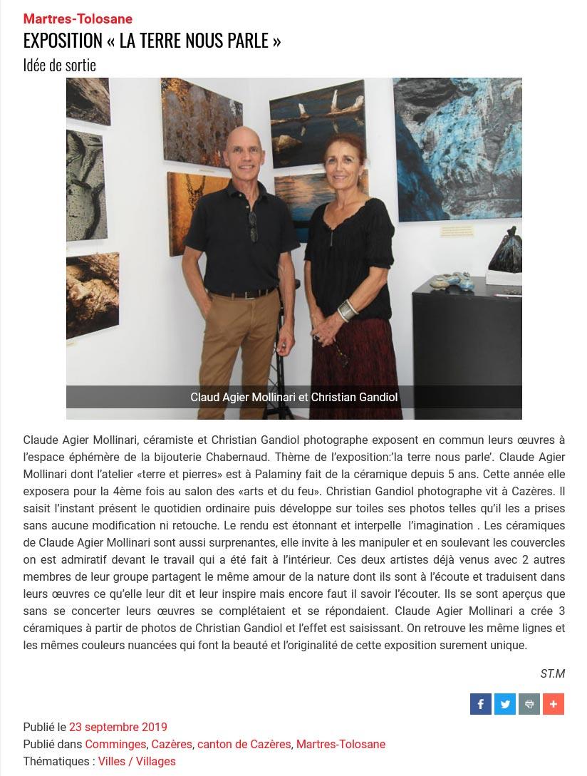 Exposition de Claude Agier Mollinari