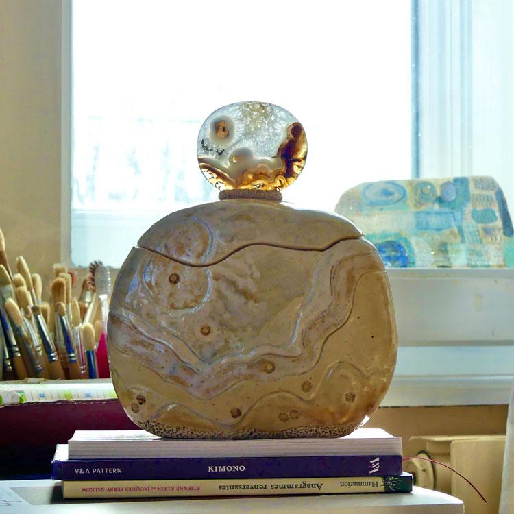 Ambiance de céramiques boîte sculptée tranche d'agate
