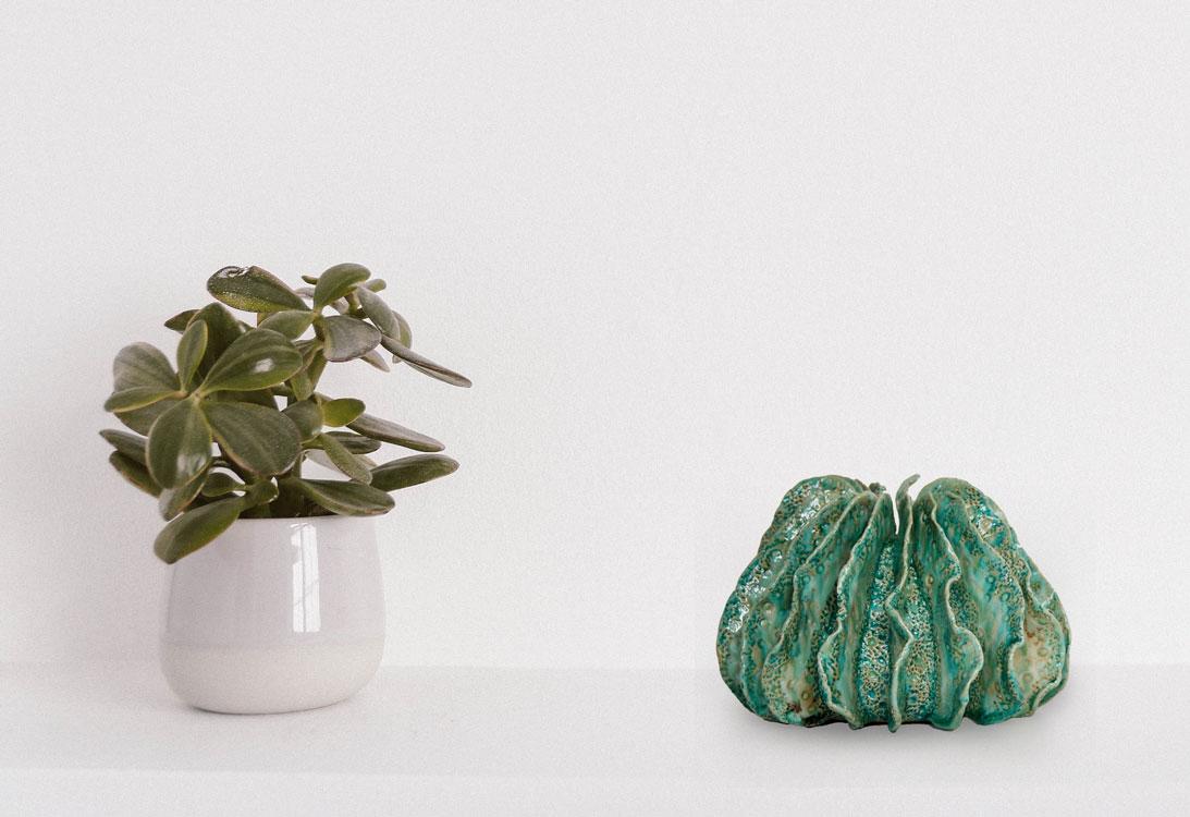 Ambiance de céramiques vase paysage à ailettes