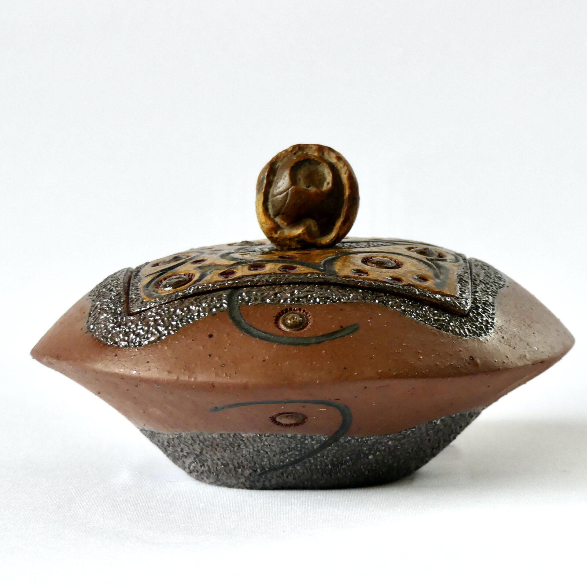 Céramique boîte sculptée Bois pétrifié