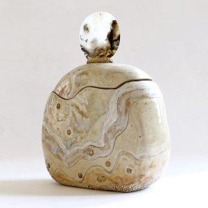 Céramique boîte sculptée flacon tranche d'agate polie