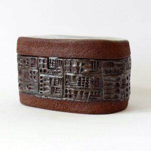 Boîte paysage ovale écritures anciennes